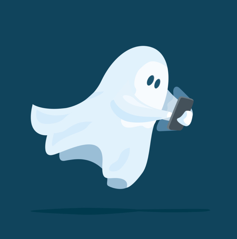 Cute ghost using a smart phone device